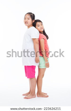 Asian two girls isolated on white.  - stock photo