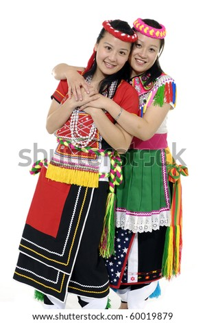 asian two woman dancer in traditional dress
