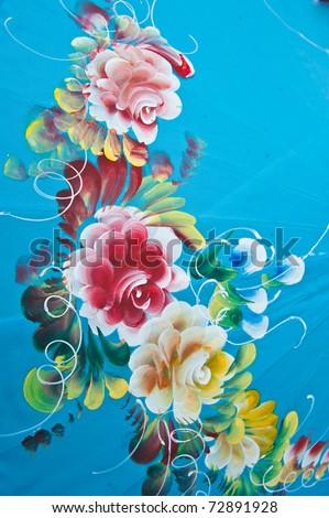 asian umbrella detail handmade decorated - stock photo