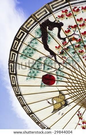 asian umbrella detail handmade decorated close up - stock photo