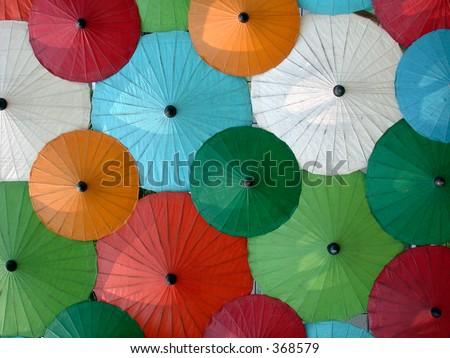 Asian umbrella's - stock photo