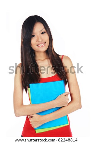 Asian University Student Ready on Enrollment Day - stock photo