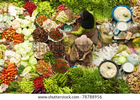Asian vegetable market in Kota Bharu Malaysia - stock photo