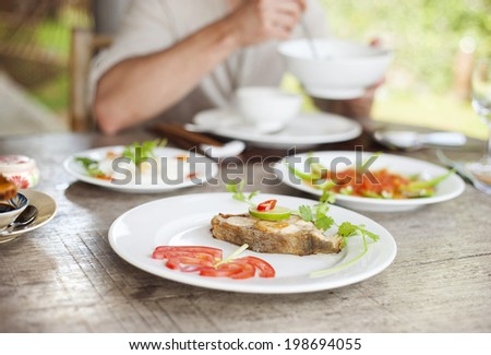 Asian vietnamese food served in traditional way - stock photo