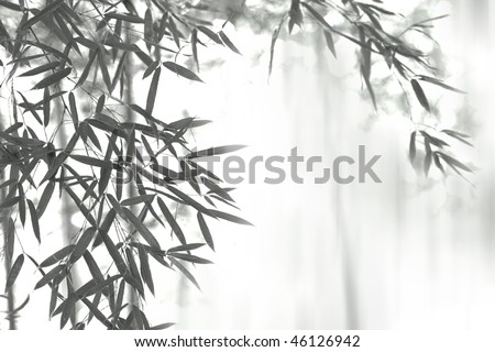 Asian wash painting style (sumi-e) style bamboo forest. - stock photo