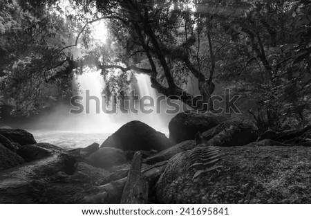 Asian Waterfall Hoe-Swot-Waterfall Thailand black abd white tones. - stock photo