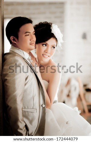 Asian wedding couple show love concept