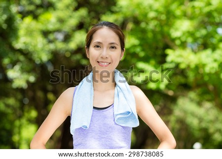 Asian woman after running - stock photo