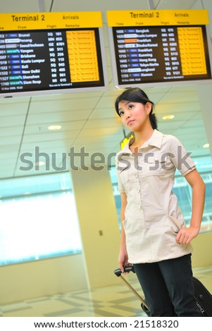 asian woman at airport - stock photo