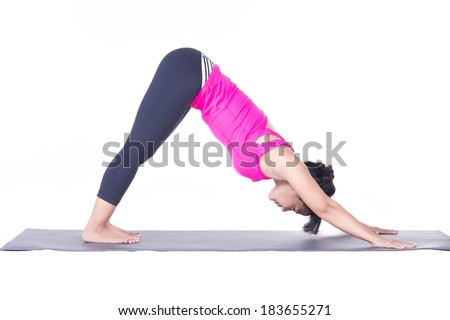 Asian woman beautiful yoga posing on a studio white background, Downward-facing dog.woman sitting in stretching yoga pose.