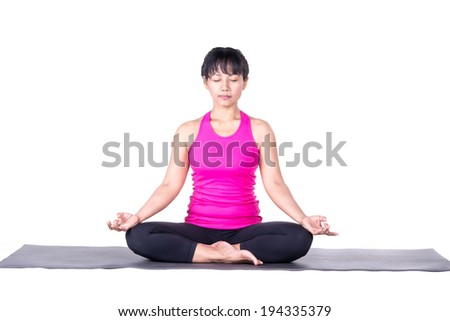 Asian woman beautiful yoga posing on a studio white background, woman meditating in Lotus Pose. - stock photo