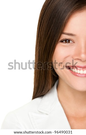 Asian woman. Business woman closeup portrait of happy smiling young businesswoman in white suit. Professional young mixed race Caucasian / Chinese Asian woman on white background. - stock photo