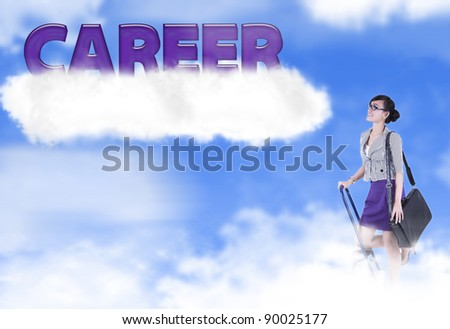 Asian woman climbs a ladder looking at a bright future