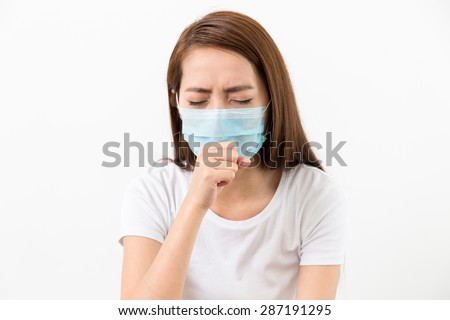 Asian woman cough with face mask protective - stock photo