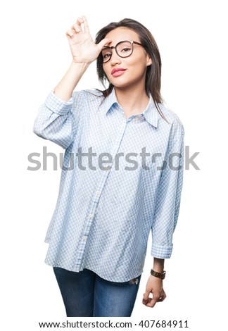 asian woman doing looser gesture - stock photo