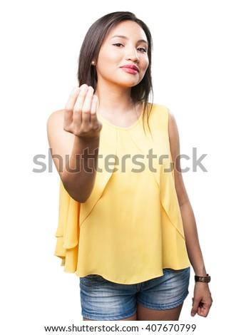 asian woman doing money gesture - stock photo