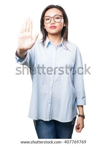 asian woman doing stop gesture - stock photo