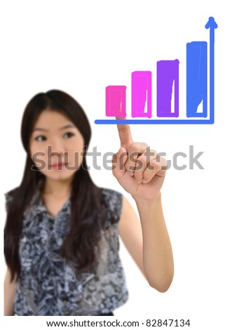 Asian woman drawing graph on white background - stock photo