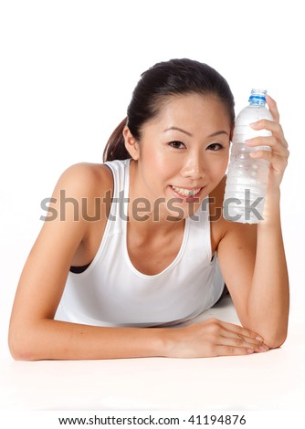 Asian woman drinking water on white background