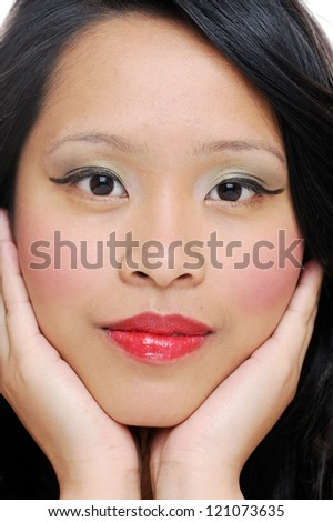 Asian woman face closeup showing natural beauty - stock photo