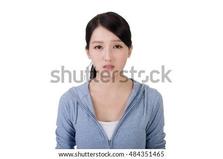 asian woman face with sadness, closeup portrait