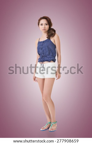 Asian woman, full length portrait isolated on white background.