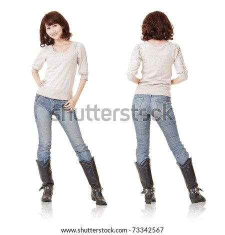 Asian woman, full length portrait of front and back view isolated on white, standing and dressing blank pale yellow cloth ready for your logo or design.