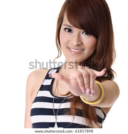 Asian woman gesture at you, closeup portrait against white background. - stock photo