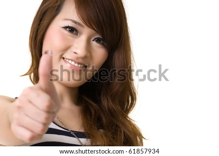 Asian woman give you excellent sign with copyspace on white.