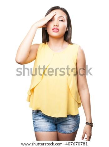 asian woman having a headache - stock photo
