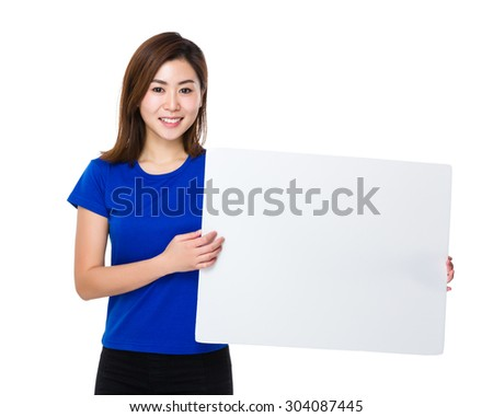 Asian woman hold with white board - stock photo