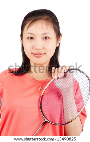 Asian woman holding a badminton racket, isolated on white. - stock photo