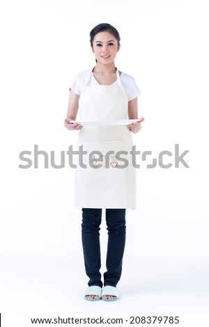Asian woman holding an empty tray on white background - stock photo