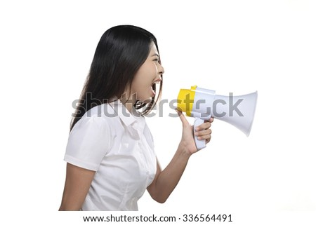 Asian woman holding megaphone isolated over white background