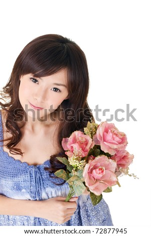 Asian woman holding roses, closeup portrait on white background. - stock photo