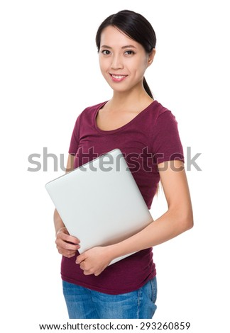 Asian woman holding with notebook