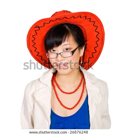 Asian woman in big red hat bright dressing on white background - stock photo