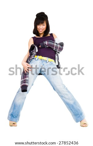 Asian woman in motion with hip-hop like style - stock photo