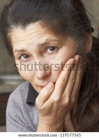 Asian woman is having toothache - stock photo