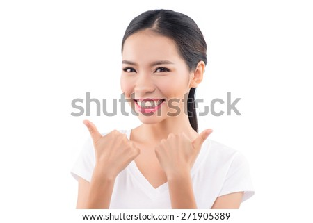Asian woman isolated on white background. Casual mixed-race Asian Caucasian woman smiling looking happy in white t-shirt. - stock photo