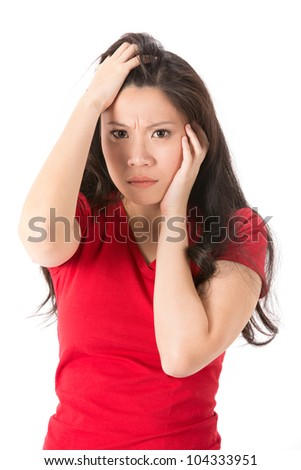 Asian woman looking shocked and surprised. Isolated on white - stock photo