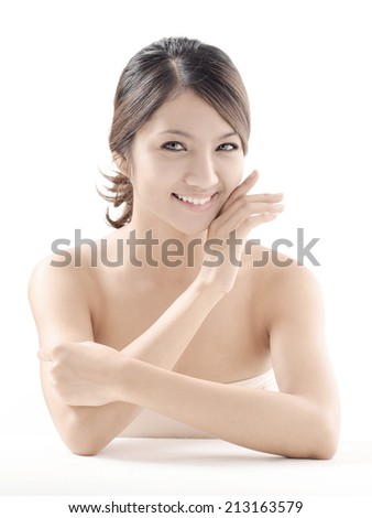 Asian woman model beauty shot in studio on white background  - stock photo