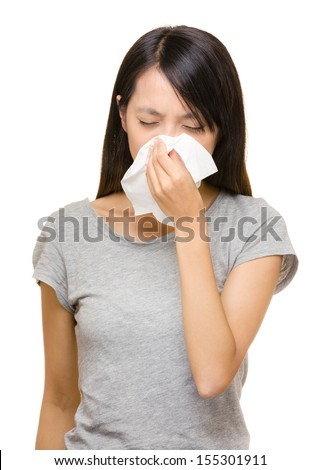 Asian woman nose allergic