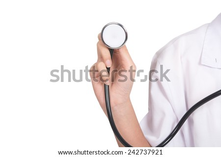 Asian woman of an enthusiastic intern looking at camera,Beautiful young doctor,Macro shoot of medical for health insurance or hospital,Health worker with a stethoscope.isolate d on white background - stock photo