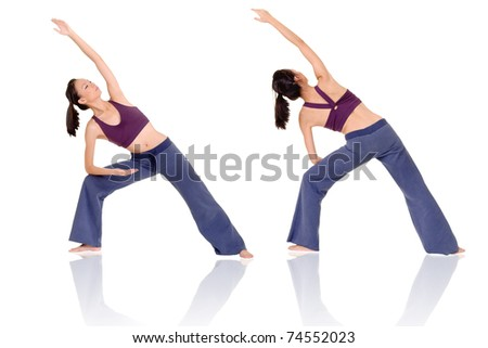 Asian woman of fitness doing expert yoga pose in front and rear view, full length portrait isolated on white background. - stock photo
