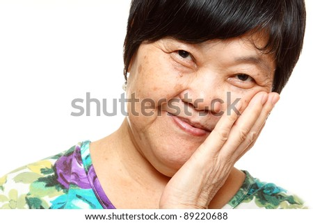 asian woman on white background - stock photo