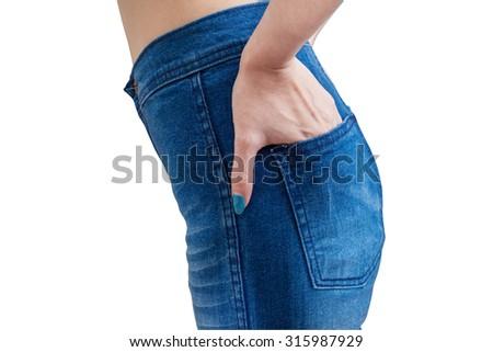 Asian woman or girl wear denim blue jean on white background - stock photo