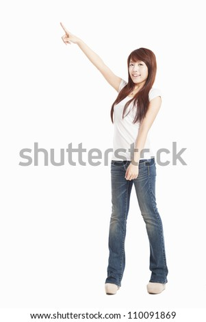 asian Woman pointing to the side standing in full length