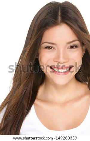 Asian woman portrait close up - Asian girl in her 20s smiling happy looking at camera isolated on white background. Beautiful female model brunette, Multi-ethnic Asian Chinese / Caucasian. - stock photo