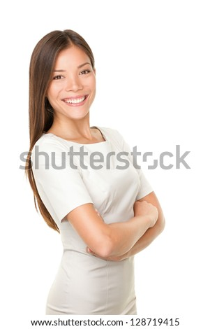 Asian woman portrait smiling happy with arms crossed proud. Young casual female professional businesswoman isolated on white background. Multicultural Asian / Caucasian model. - stock photo